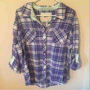NWT Arizona Jeans Co. Plaid Button Down Shirt
